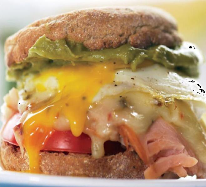 Sunrise Sandwich with Turkey, Cheddar, and Guacamole