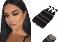 DSoar Hair 3 Bundles Malaysian Virgin Hair Straight With Closure