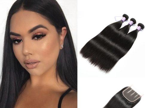 DSoar Hair 3 Bundles Malaysian Virgin Hair Straight With Closure