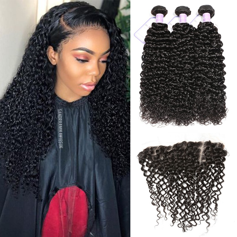 DSoar Hair Natural Black 3 Bundles 8-26 Malaysian Curly Hair Weave With 4x13 Frontal
