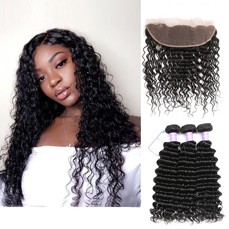 Dsoar Hair Brazilian Deep Wave 3 Bundles With Lace Frontal Free Part
